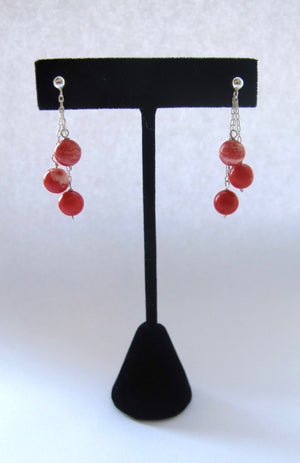"1 9/16"" Sterling Silver 3-Strand Cascade 8mm Round Red White Coral Bead Earrings"