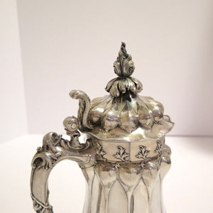 "11"" European Silver Gilded Interior Antique German Medieval-Style Beer Mug/Stein"
