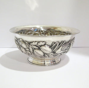 10.5 in - European Silver Florentino Antique Repousse Fruit Decorated Bowl
