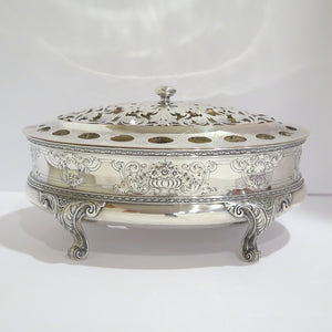13 in - Sterling Silver Antique Oval Floral Design Bowl Vase / Centerpiece