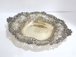 16 in - Sterling Silver Antique Floral Design Serving Plate / Centerpiece