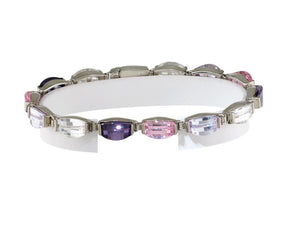 "7"" 925 Sterling Silver Distinctive Bracelet with Assorted CZ"