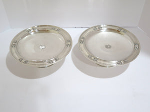 Pair of 9 in - Sterling Silver Tiffany & Co. Antique Footed Serving Plates