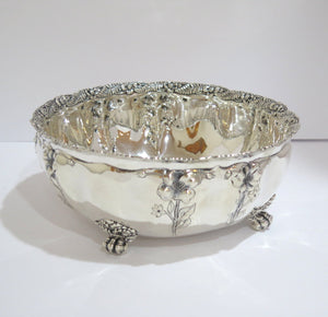 9.5 in - Sterling Silver Antique Footed Poppy Flower Design Deep Bowl