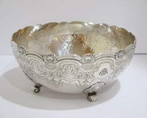 9 in - Sterling Silver Antique Footed Art Deco Deep Bowl