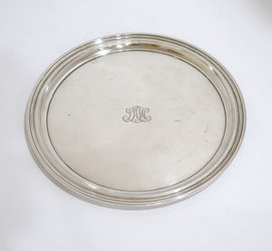 "10 in - Sterling Silver Tiffany & Co. Antique Plate with ""LAW"" Engraving"