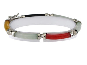 7 in - 925 Sterling Silver Multi-Color Jade Tube Bracelet