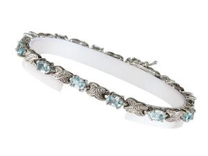 "7"" - 925 Sterling Silver Classic Bracelet with Oval Blue Topaz"