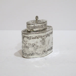 4 in - Sterling Silver Antique Garden Sceenes Small Tea Box