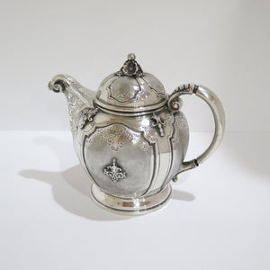5 piece European Silver Antique Italian Ornate Flower Scroll Tea & Coffee Set