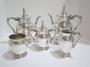 5 piece Sterling Silver Tuttle Boston Antique Leaf Decorated Tea & Coffee Set