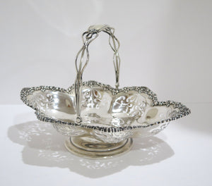 12 1/8 in - Sterling Silver Durgin Antique Openwork Oval Serving Bowl w/ Handle