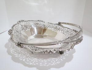 16 in - Sterling Silver Antique Floral Openwork Large Oval Basket / Centerpiece