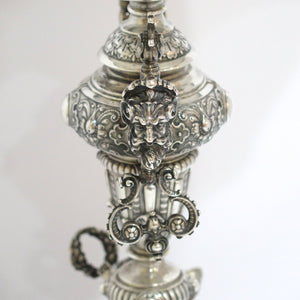 17.75 in - European Silver Antique German Two Cupids Ornate Floral Large Compote