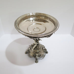 10.5 in - European Silver Antique German Cupid Ornate Floral Compote
