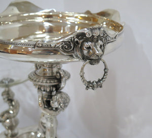 26.25 in - European Silver Antique German 3-Plate Cupids Lion Heads Centerpiece