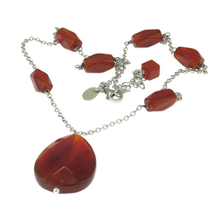 18-20 in - Tocara 925 Sterling Silver Carnelian Drop Necklace