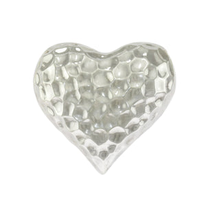 1 in - 925 Sterling Silver Puffed Hammered Heart Pendant