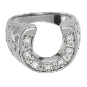 925 Sterling Silver Cubic Zirconia CZ Horseshoe Ring