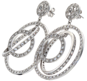 1.5 in - 925 Sterling Silver Pave Round Clear CZ Triple Hoop Drop Earrings