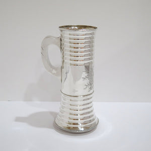 9.25 in - Sterling Silver Antique Dutch 1886 Knight's Helmet & Shields Beer Mug