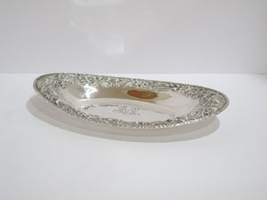 "12 5/8"" Sterling Silver S Kirk & Son Antique Hand Decorated Floral Repousse Dish"