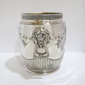 10.5 in - European Silver Antique German c. 1900 Grape Lion Heads Wine Cooler