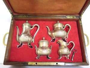 4 piece - Gilded Sterling Silver Antique French Floral Mini Tea / Coffee Set