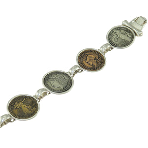 8 in - 925 Sterling Silver Replicas of U.S. Coins Bracelet