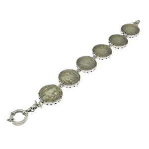 8 in - Sterling Silver Five Cents Indian Chief Grading Buffalo Coins Bracelet