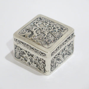 1 7/8 in - Sterling Silver Antique Floral Snuff/Pill Box