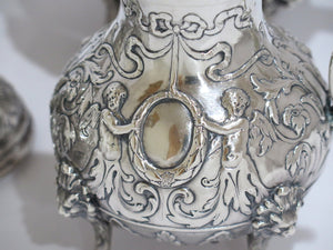 4 piece - Sterling Silver Antique Cupids Wreath Floral Tea/Coffee Set