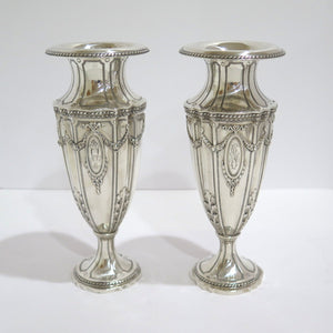 Set of 2 - 9 3/8 in - Sterling Silver Bailey Banks & Biddle Antique Ornate Vases
