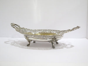 "14.75"" European Silver Antique German Ornate Floral Openwork Oval Dish w Handles"