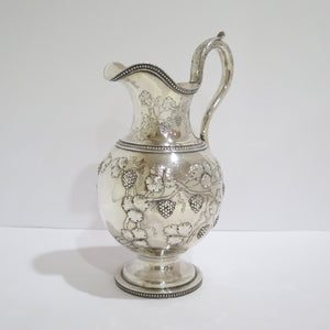 12.25 in - Coin Silver Jones Ball & Co. Antique 1845 Grape Pattern Water Pitcher