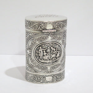 5 5/8 in - European Silver Antique German Painting Scene Floral Tea Caddy