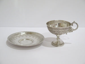 2 pieces - 84 Silver Antique Russian 1885 Ornate Tea Cup and Saucer Set