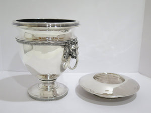 9 7/8 in - Sterling Silver Tiffany & Co. Antique Lion Head Handles Wine Cooler