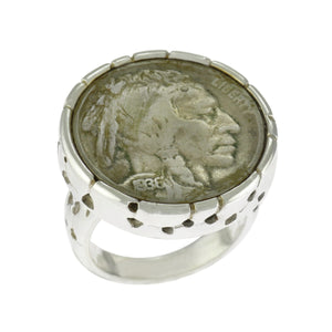 Sterling Silver Buffalo Indian Head Coin Statement 1936 Five Cents Ring