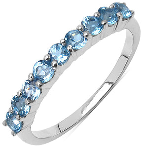 925 Sterling Silver 2.50 mm 1.00 ctw Round Blue Topaz Ring