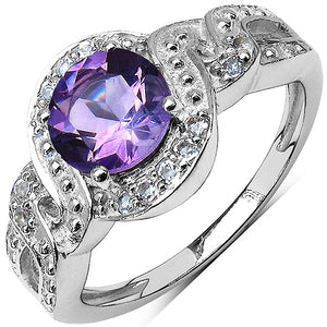 925 Sterling Silver 7.00 mm 1.35 ctw Round Amethyst White Topaz Ring