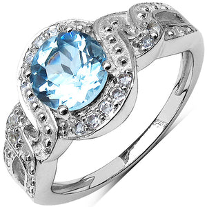 925 Sterling Silver 7.00 mm 1.60 ctw Round Blue Topaz White Topaz Ring