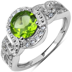 925 Sterling Silver 7.00 mm 1.35 ctw Round Peridot White Topaz Ring