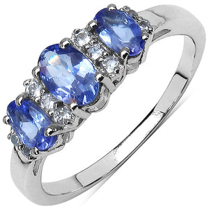 925 Sterling Silver 3x5 mm 0.75 ctw Oval Tanzanite White Topaz Ring