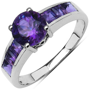 925 Sterling Silver 3.00 mm Square Amethyst Amethyst Ring