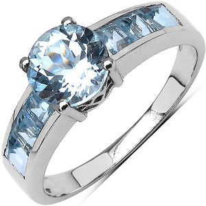 925 Sterling Silver 3.00 mm 1.60 ctw Square Blue Topaz Blue Topaz Ring