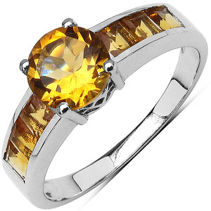 925 Sterling Silver 3.00 mm Square Citrine Citrine Ring