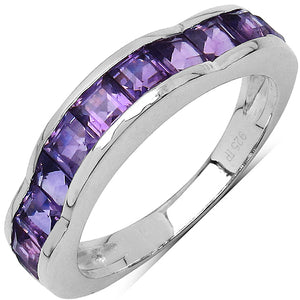 925 Sterling Silver 3.00 mm 1.68 ctw Square Amethyst Ring