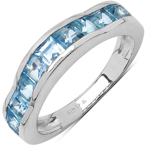 925 Sterling Silver 3.00 mm 2.25 ctw Square Blue Topaz Ring