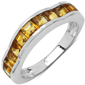 925 Sterling Silver 3.00 mm 1.68 ctw Square Citrine Ring